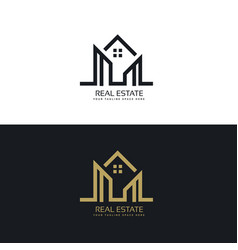 mono line house logo design for real estate vector image vector image