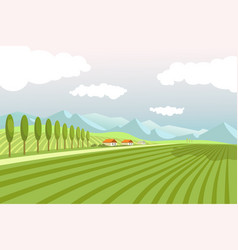 natural landscape with wide plowed fields and high vector image