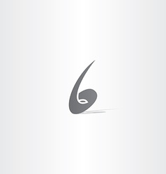 number 6 no six black logo icon vector image