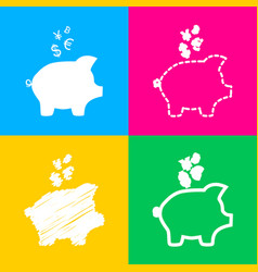 Piggy bank sign with the currencies four styles vector