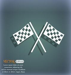 Race Flag Finish icon sign On the blue-green vector image