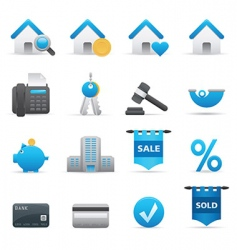 real state icons indigo vector image vector image