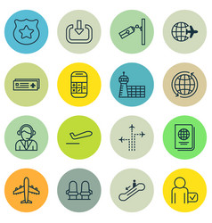 Set of 16 airport icons includes globetrotter vector