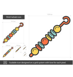 Shish kebab line icon vector