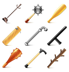 Stick weapons icons set vector