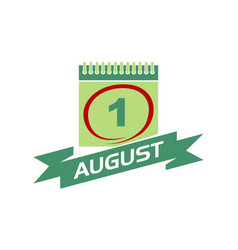 1 august calendar with ribbon vector