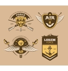 Desert military vintage labels vector