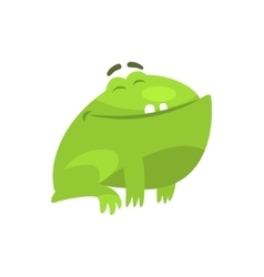 Satisfied smiling green frog funny character vector
