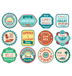 Vintage retro grunge summer vacation travel labels vector