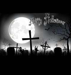 Halloween background night with in graveyard vector
