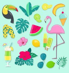 Collection of summer party icons vector