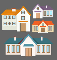 Colorful flat houses collection vector