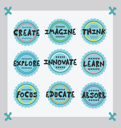 Cute blue positive inspirational sticker icon set vector