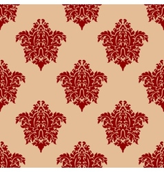 Ornate maroon damask style seamless pattern vector
