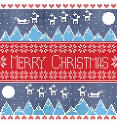 Merry xmas seamless nordic pattern with winter mo vector