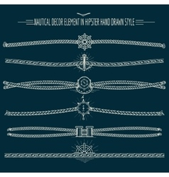 Hipster style nautical decor set vector