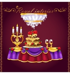 Table with two glasses of wine cake and candles vector
