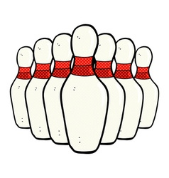 Comic cartoon bowling pins vector