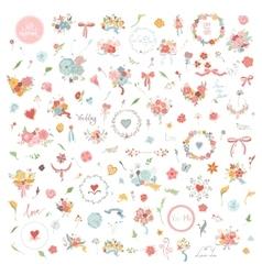 Wedding hand drawn vintage floral elements set of vector