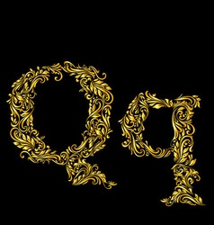 Decorated letter q vector