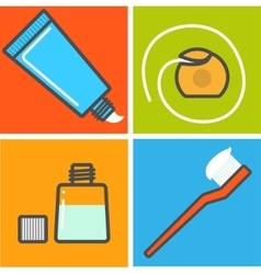 Set of toothcare things vector