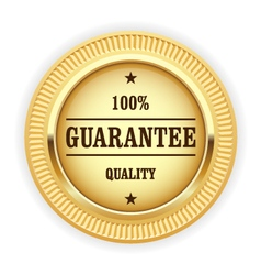 Golden medal - 100 quality guarantee symbol vector