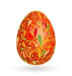 Colorful easter red egg with ornate doodle floral vector
