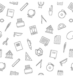 School elements pattern black icons vector image