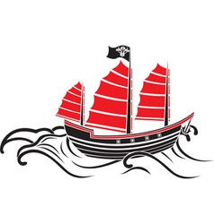 Asian boat on the waves the stencil vector