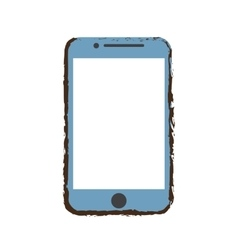 Blue mobile phone screen technology sketch vector