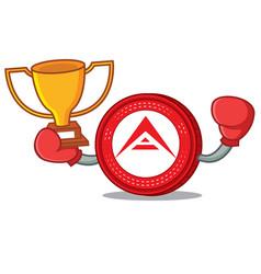 Boxing winner ark coin mascot cartoon vector