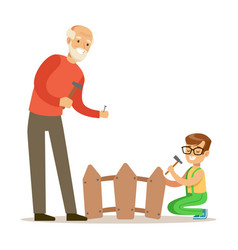 boy and grandfather hammering nails in the fence vector image vector image