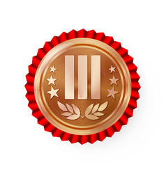 Bronze 3st place rosette badge medal vector