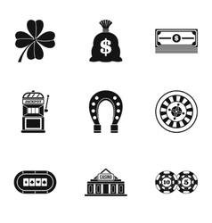 Casino game icons set simple style vector image vector image