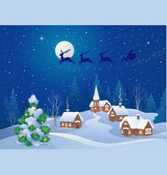 christmas night scene vector image vector image