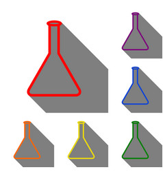 Conical flask sign set of red orange yellow vector