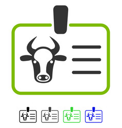 Cow badge flat icon vector