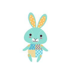 cute light blue bunny soft plush toy stuffed vector image vector image