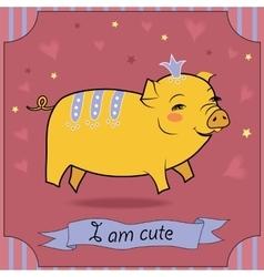Cute yellow pig vector