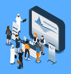 Exhibition stand isometric composition vector