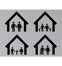 Family with houses vector image vector image