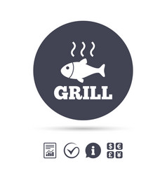 Fish grill hot icon cook or fry fish symbol vector
