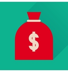 Flat icon with long shadow money bag vector