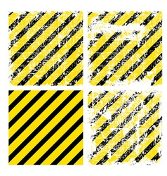 Four square yellow backgrounds with black stripes vector image