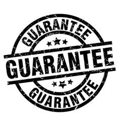 guarantee round grunge black stamp vector image vector image