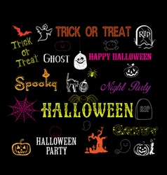 halloween hand drawn elements vector image