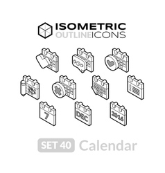 Isometric outline icons set 40 vector