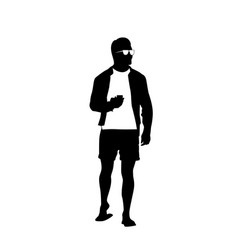 Man black silhouette use cell smart phone standing vector