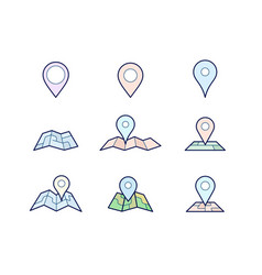 Maps and geo pins vector