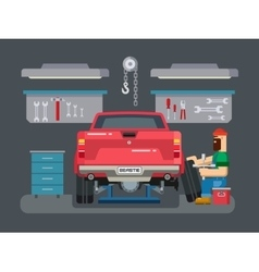Mechanic Repairs Car in the Garage vector image vector image